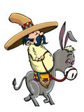 Cartoon Mexican wearing a sombrero riding a donkey Stock Images