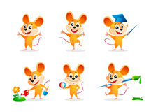 Cartoon mice. Mice. Set of vector illustrations Royalty Free Stock Image