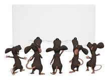 Cartoon mice with a blank frame Royalty Free Stock Images