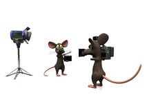 Cartoon mice filming. Royalty Free Stock Images