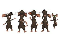 Cartoon mice looking upwards Stock Photos