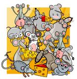 Cartoon mice and rats with cheese Stock Photography
