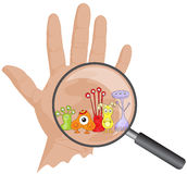 Cartoon microbes peek out from a magnifying lens. Hand with viru Stock Image