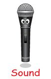 Cartoon microphone character Stock Photo