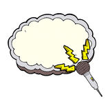 cartoon microphone and space for text cloud Stock Photos