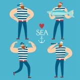 Cartoon mighty sailors set Stock Photos