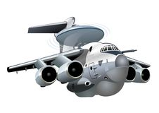 Vector Cartoon AWACS Plane Il-76 Mainstay Stock Images