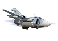 Vector Cartoon Bomber Su-24 Fencer. Vector Cartoon Bomber. Available EPS-10 vector format separated by groups and layers for easy edit Stock Images