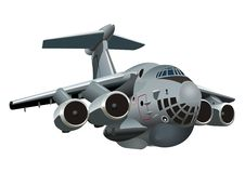 Cartoon Military Cargo plane Il-76 Candid Royalty Free Stock Photos