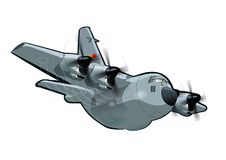 Cartoon Military Cargo plane C-130 Hercules. Vector Cartoon Military Cargo plane. Available EPS-10 vector format separated by groups and layers for easy edit Stock Photos