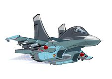 Cartoon Fighter - Bomber Su-34 Fullback. Vector Cartoon Fighter - Bomber. Available EPS-10 vector format separated by groups and layers for easy edit Royalty Free Stock Image