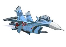 Vector Cartoon Fighter Plane Su-35 Flanker. Vector Cartoon Fighter Plane. Available EPS-10 vector format separated by groups and layers for easy edit Stock Photo