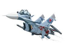 Vector Cartoon Fighter Plane Su-35 Flanker. Vector Cartoon Fighter Plane. Available EPS-10 vector format separated by groups and layers for easy edit Stock Image