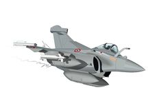 Vector Cartoon Fighter Plane Rafale. Vector Cartoon Fighter Plane. Available EPS-10 vector format separated by groups and layers for easy edit Stock Photo