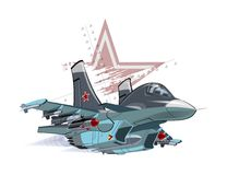 Cartoon Military Airplane. Vector Cartoon Fighter Plane. Available EPS-10 vector format separated by groups and layers for easy edit Stock Photos