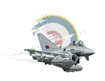 Cartoon Military Airplane. Vector Cartoon Fighter Plane. Available EPS-10 vector format separated by groups and layers for easy edit Royalty Free Stock Photos