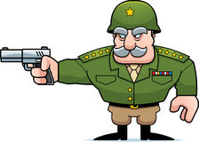 Cartoon Military General Shooting Royalty Free Stock Images