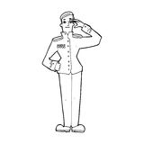 Cartoon military man in dress uniform Stock Image