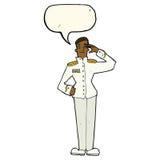 Cartoon military man in dress uniform with speech bubble Stock Image