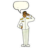Cartoon military man in dress uniform with speech bubble Royalty Free Stock Photos