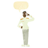 cartoon military man in dress uniform with speech bubble Stock Photo