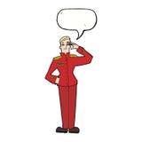 cartoon military man in dress uniform with speech bubble Royalty Free Stock Photo