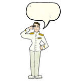 Cartoon military man in dress uniform with speech bubble Royalty Free Stock Image