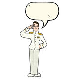 Cartoon military man in dress uniform with speech bubble Royalty Free Stock Photos
