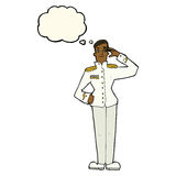Cartoon military man in dress uniform with thought bubble Royalty Free Stock Images