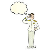 Cartoon military man in dress uniform with thought bubble Royalty Free Stock Image