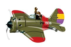 Cartoon Military Retro Fighter Plane Stock Images