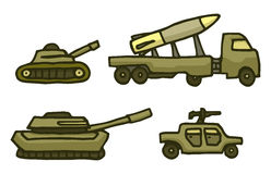Cartoon military war vehicle set Stock Photography