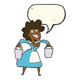 Cartoon milkmaid carrying buckets with speech bubble Royalty Free Stock Image