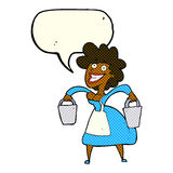 Cartoon milkmaid carrying buckets with speech bubble Royalty Free Stock Photography