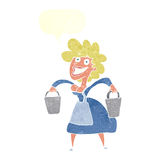 Cartoon milkmaid carrying buckets with speech bubble Stock Photo