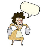 Cartoon milkmaid carrying buckets with speech bubble Stock Photos