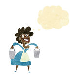 Cartoon milkmaid carrying buckets with thought bubble Stock Image