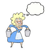 Cartoon milkmaid carrying buckets with thought bubble Stock Photo
