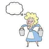 Cartoon milkmaid carrying buckets with thought bubble Royalty Free Stock Photo