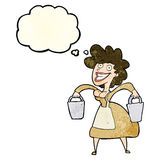 Cartoon milkmaid carrying buckets with thought bubble Royalty Free Stock Photography