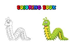 Cartoon millipede character coloring book isolated on white back. Ground Royalty Free Stock Photo