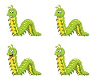 Cartoon millipede character set isolated on white background.  Royalty Free Stock Photo