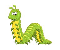 Cartoon millipede with teeth character isolated on white backgro. Und Royalty Free Stock Photo