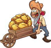 Cartoon miner. With a wheelbarrow full of gold. Vector clip art illustration with simple gradients. All in a single layer Stock Photos