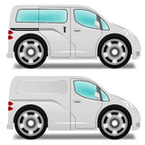 Cartoon minibus and delivery van. With big wheels Stock Image
