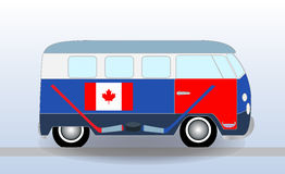 Cartoon minibus with Hockey Stick and Puck. Vector Illustration. EPS10 Royalty Free Stock Photo