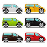 Cartoon minivan with big wheels. Royalty Free Stock Photos