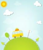 Cartoon minivan on the hill Royalty Free Stock Photography