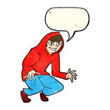 cartoon mischievous boy in hooded top with speech bubble Royalty Free Stock Photography