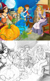 Cartoon mixed scene with poor girl and princess sorceress and with royal pair - with coloring page Stock Photo
